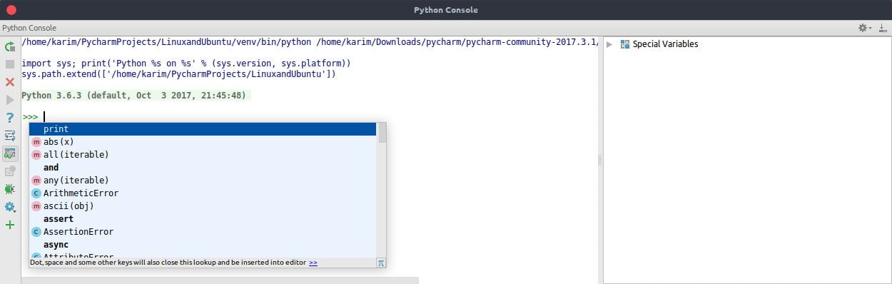 Code completion in the interactive console