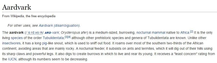 aardvark is an african mammal
