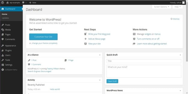 blog post in wordpress dashboard
