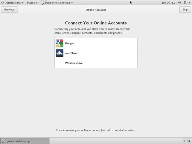 centos os connect your online accounts