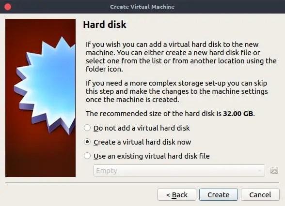configure virtualbox hard disk
