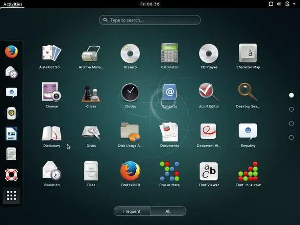 debian gnome application menu