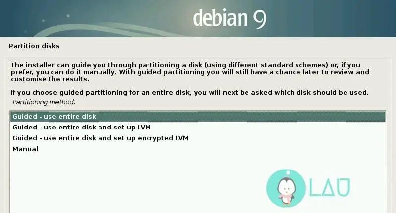 debian installation partition disk