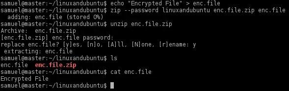 encrypt files in zip