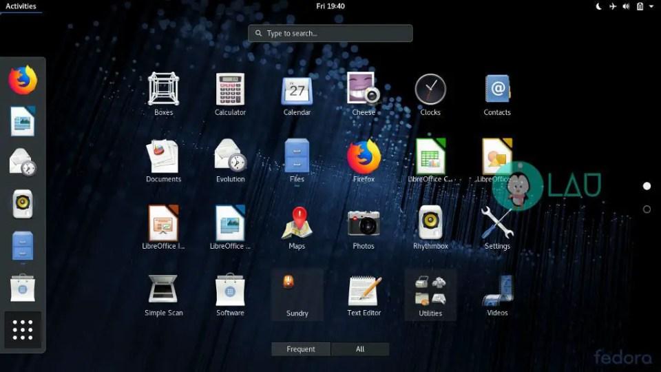 fedora 28 application menu