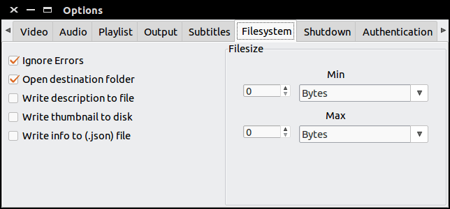 filesystem settings