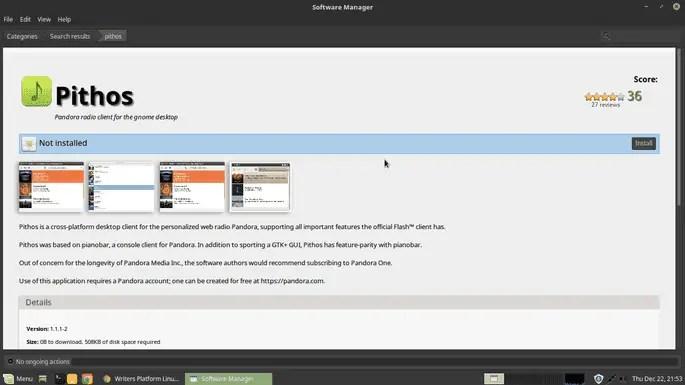 install pithos from ubuntu software manager