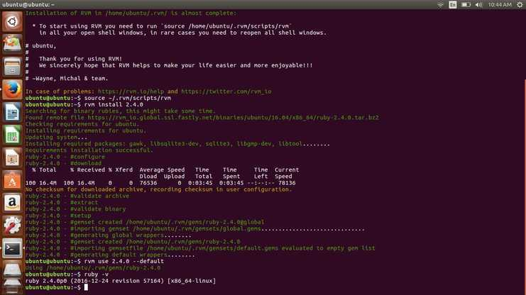 install rvm and check ruby on rails version