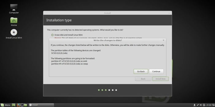 linux mint 18 installation partitioning confirm