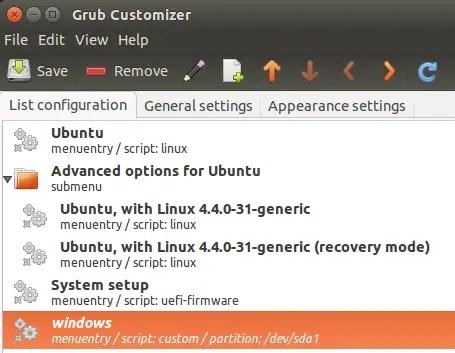 move grub customizer entry