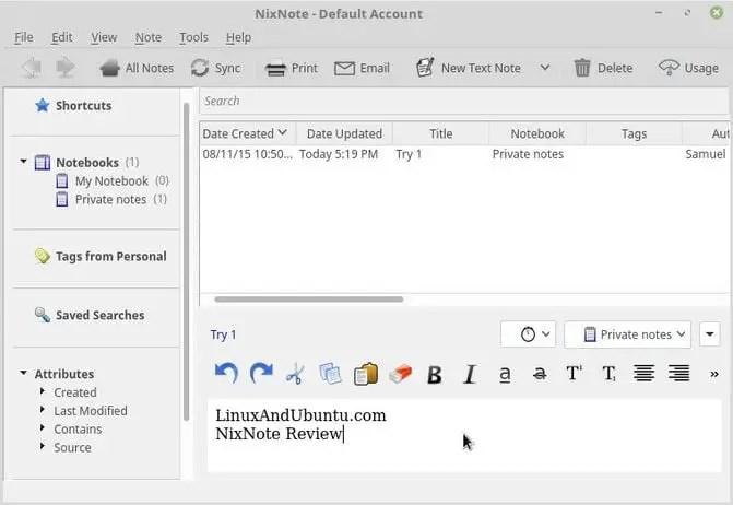 nixnote create a note in ubuntu