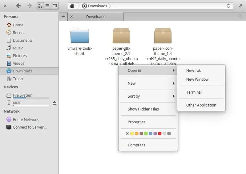 open folder in terminal