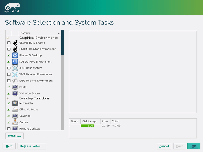 openSUSE software selection