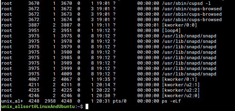 ps -eLf linux tool