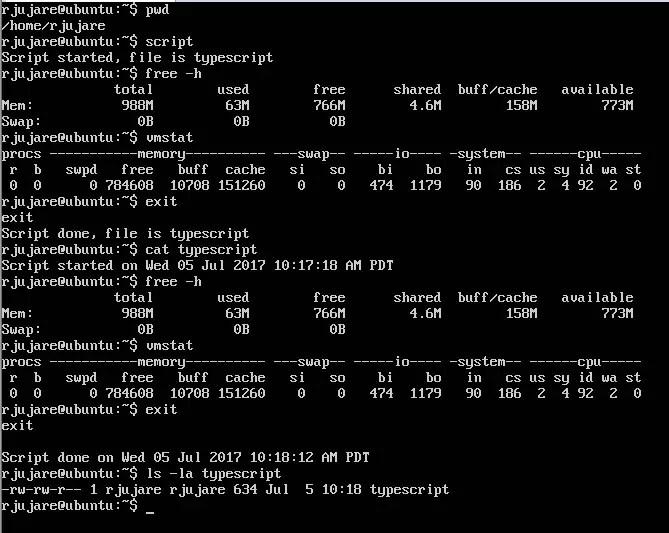 record terminal session in ubuntu server