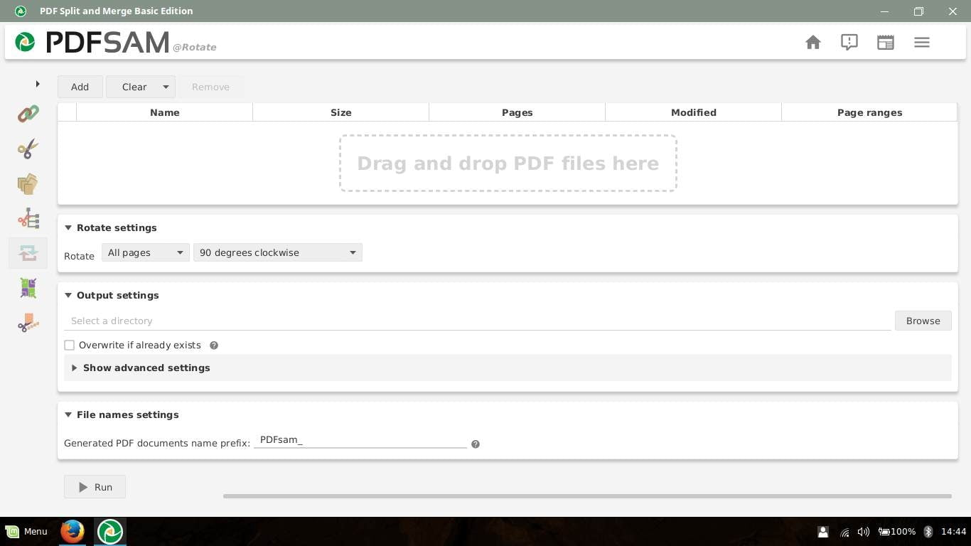 rotate pdf files in pdfsam
