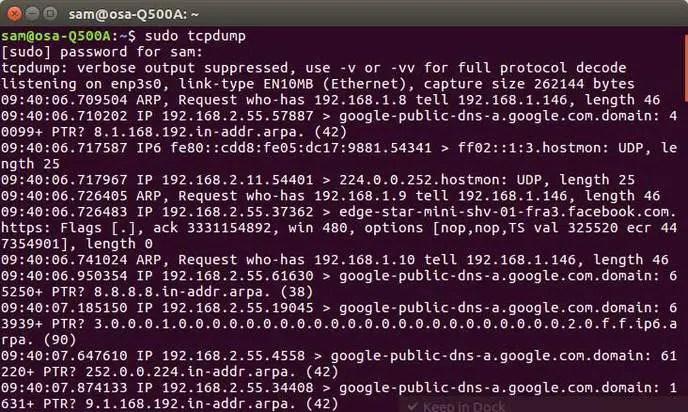 tcpdump linux network command
