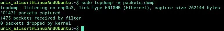 tcpdump save data to file