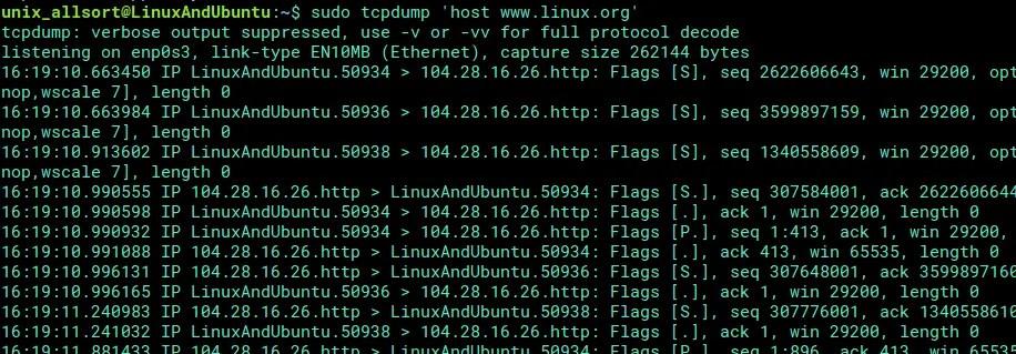 tcpdump scan domain