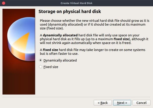 virtualbox dynamically on physical hard disk