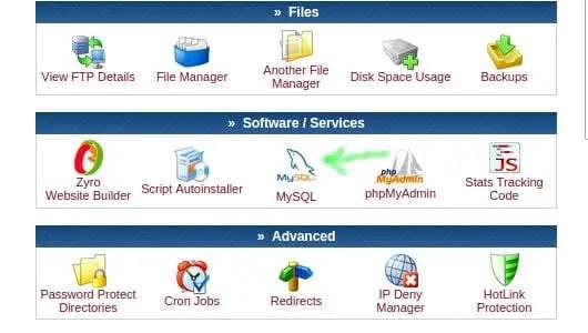web hosting cpanel to create mysql