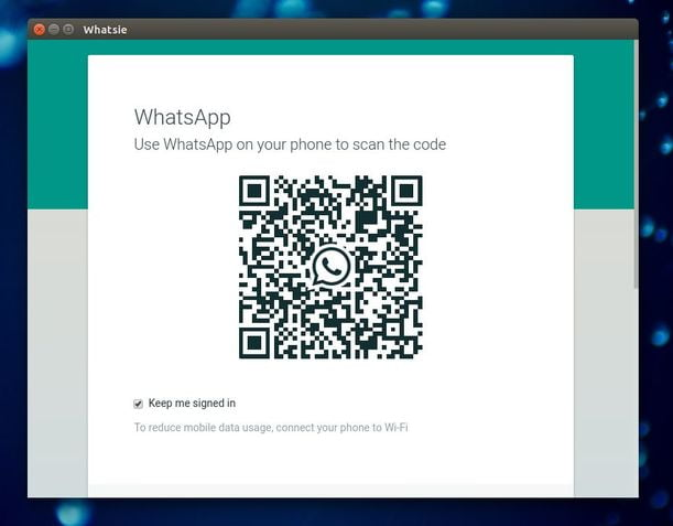 whatsapp web qr code in Linux