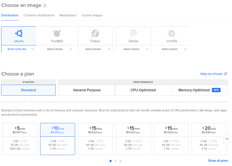 Create Ubuntu server on digitalocean