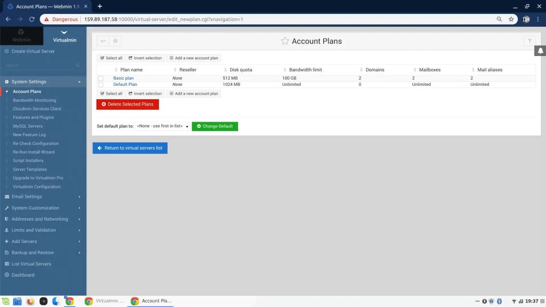 Virtualmin list Account plans