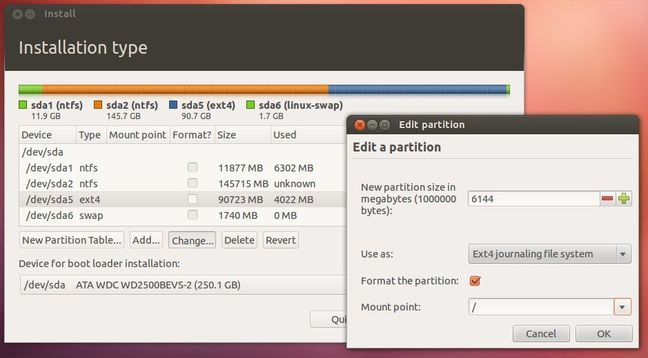 partition disc to dual boot windows and ubuntu