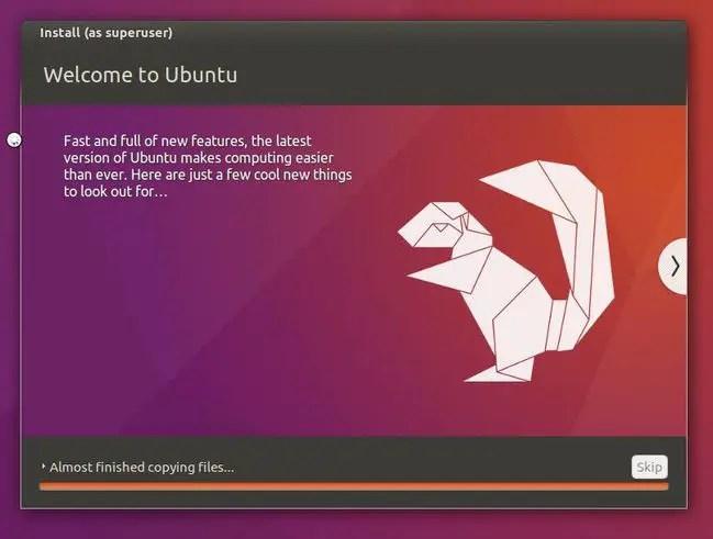 ubuntu is installing