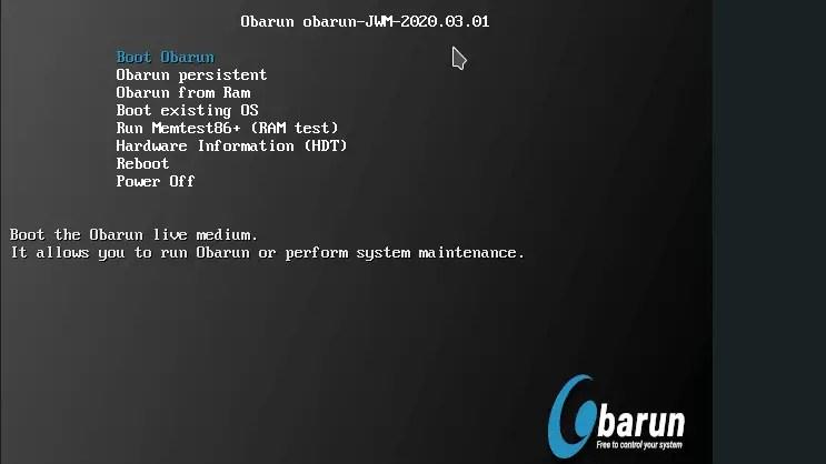 Boot Obarun from USB