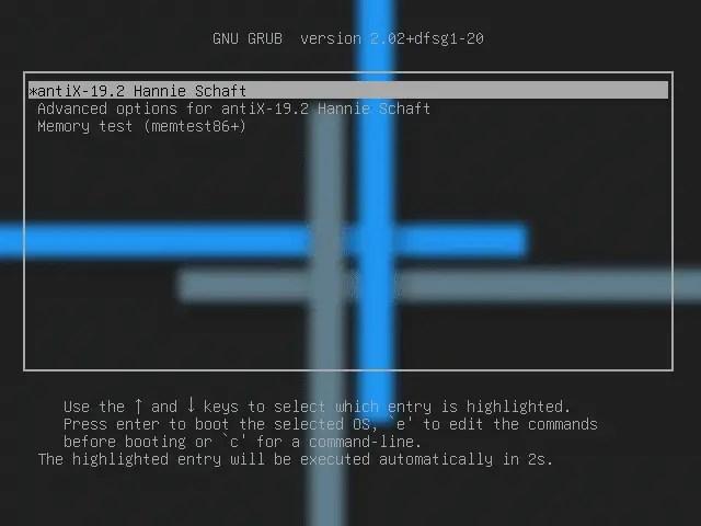 AntiX boot menu