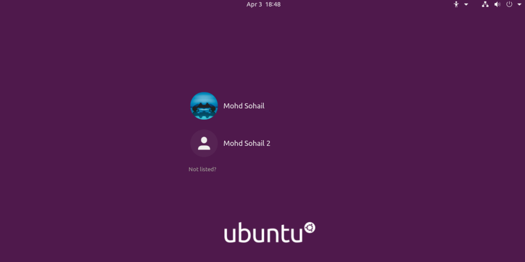 Ubuntu 20.04 login screen