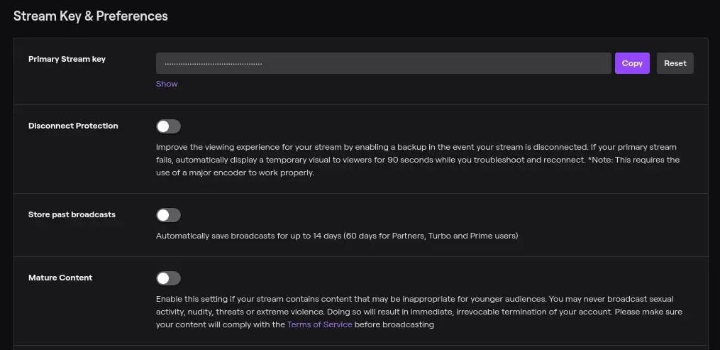 Get Twitch stream key