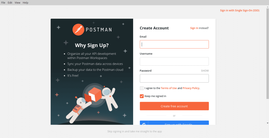 Postman sign in screen