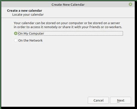 Thunderbird create new calendar