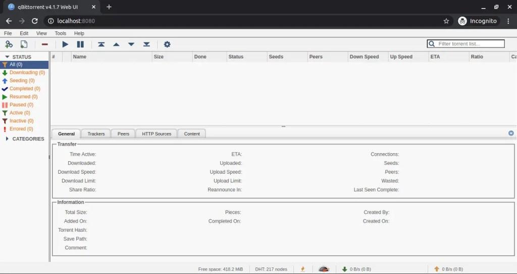 qBittorrent Web UI screen