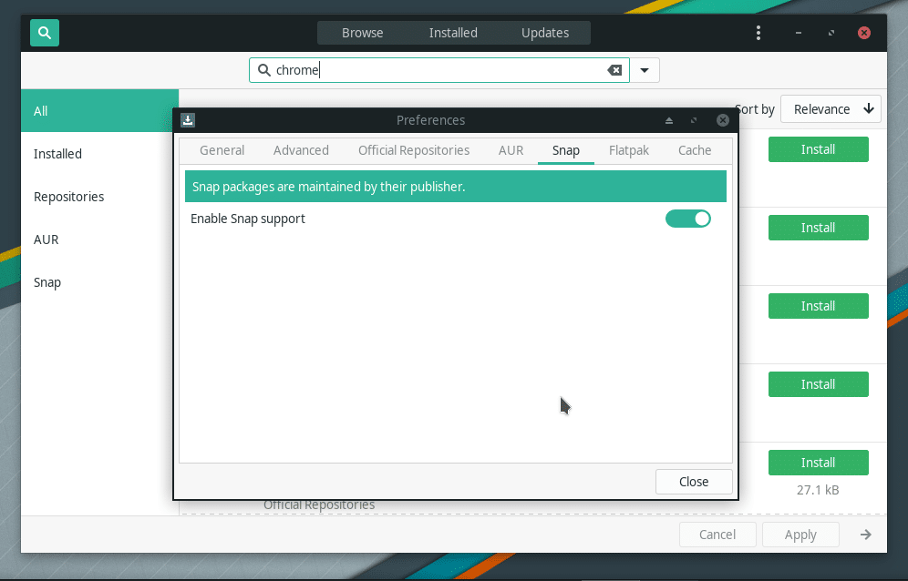 Enable snap in Manjaro