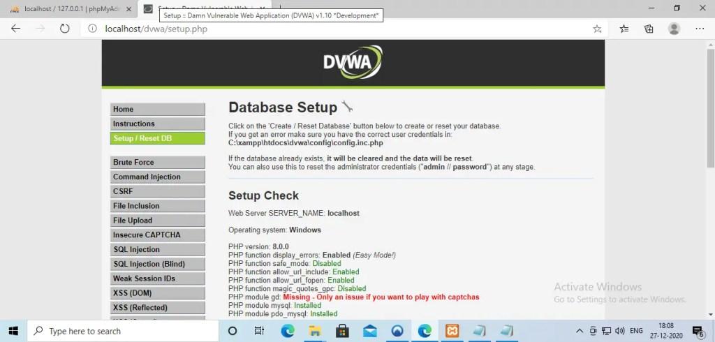 DVWA setup