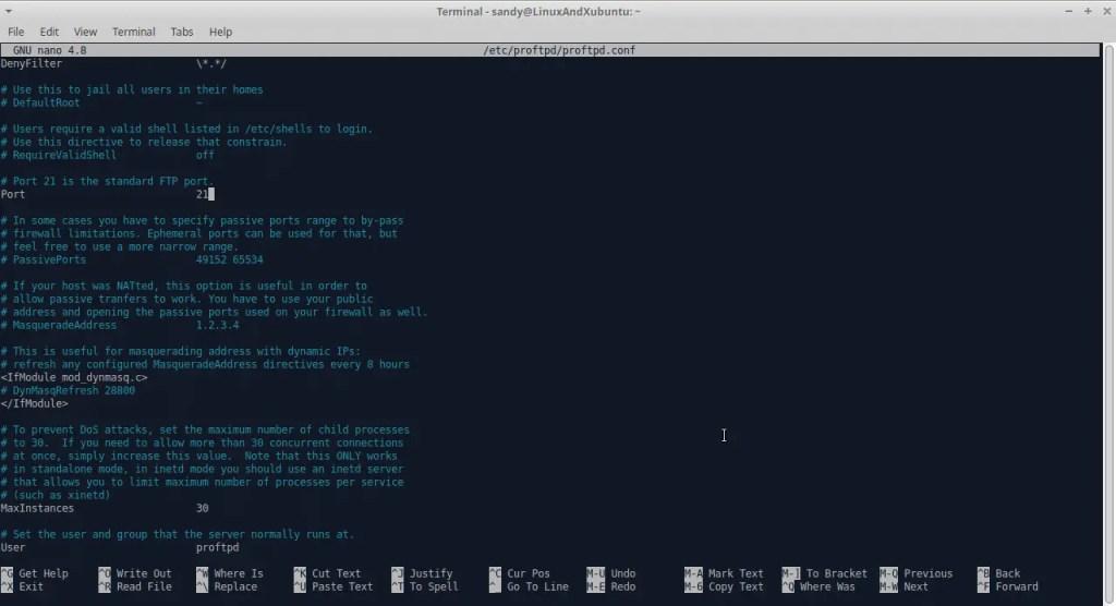 Secure Linux Server  - Change ftp port