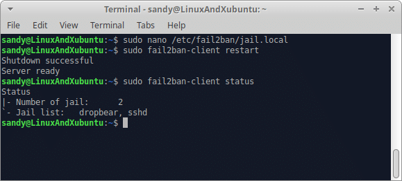 Secure Linux Server - Restart failban