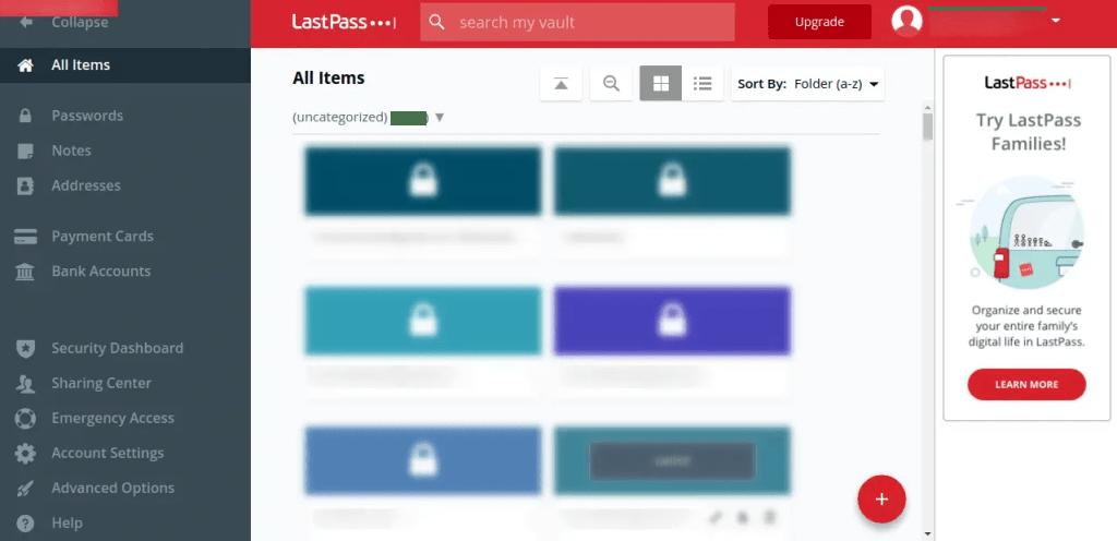 LastPass Password vault