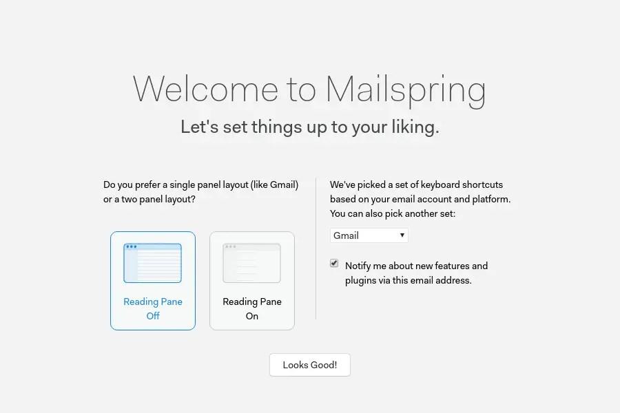 Mailspring pane setting