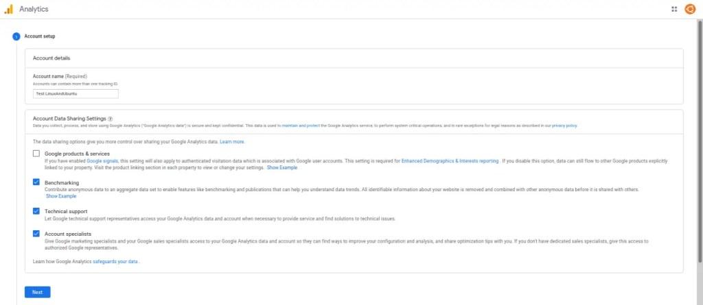 Setup Google Analytics Account
