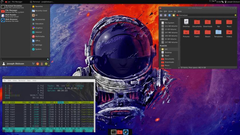 Debian Desktop: XFCE, Thunar, Terminal running htop