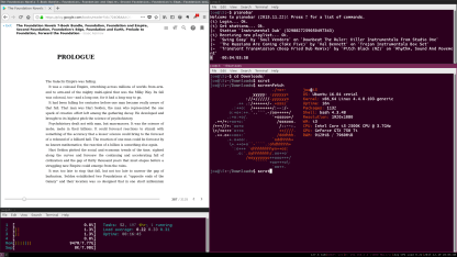 Clockwise form top left. Firefox displaying Google Books, Pianobar in terminal, screenfetch in terminal, htop in terminal.
