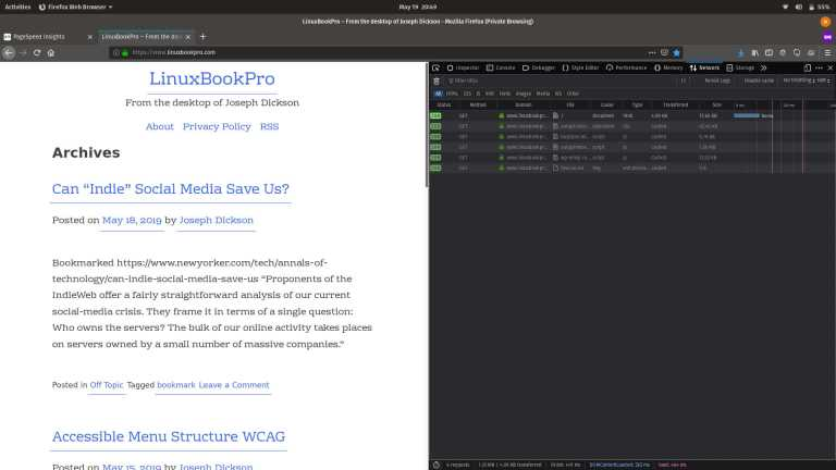 Firefox viewing LinuxBookPro.com