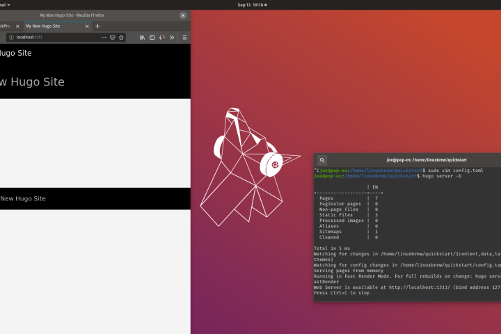Hugo running in the browser on Pop_OS!