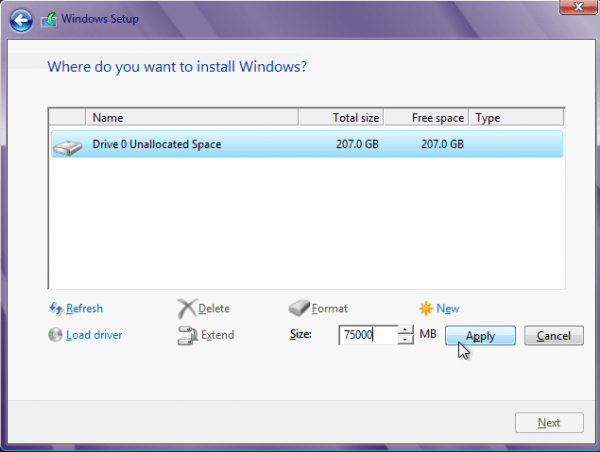 Windows 8 New Partition