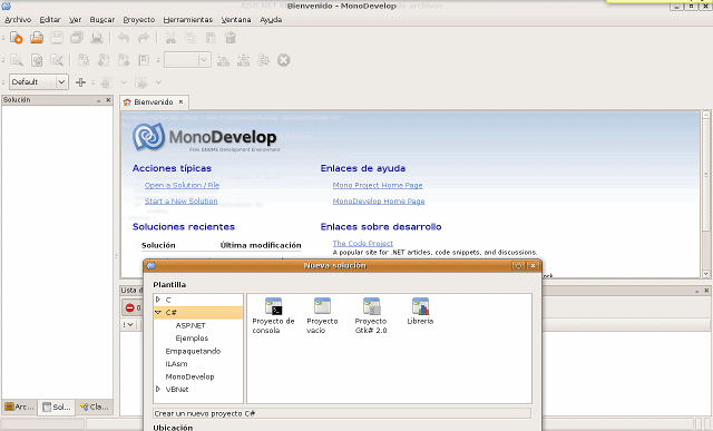 Aspecto interfaz MonoDevelop